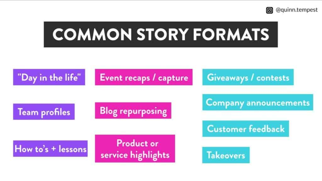 common story formats content marketing